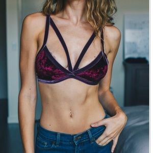Other - NWT Crush On You Velvet Strappy Front Bra Bralette